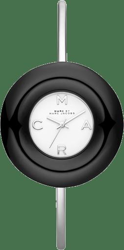 İnce paslanmaz çelik kayışına karşı kalın bir kasaya sahip The Donut Bangle modelinde kronometre yer alıyor.