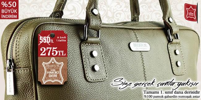 Hakiki erkek kadın deri çanta markası Bruffor